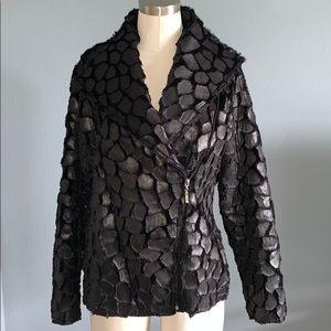 Black Textured A-Symmetrical Zipper Jacket